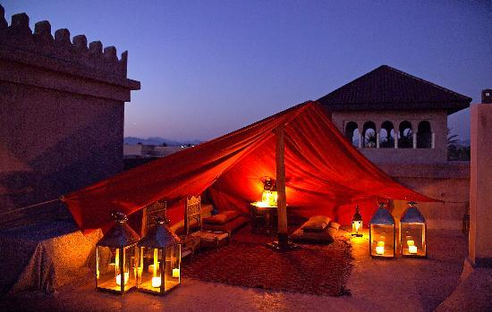 Ksar Char-Bagh: Terrace of a Harim by night