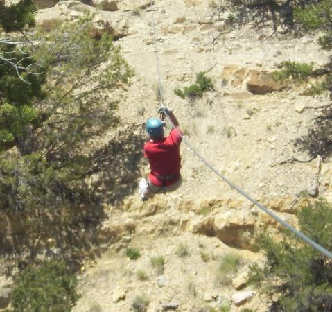 Salida, Колорадо: First zip across the canyon