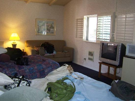 Town House Motel: Ample sleep space. Couch folds out (pardon our traveler's mess!)