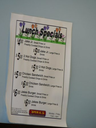 Jake's Wayback Burgers : Jake's Lunch Specials