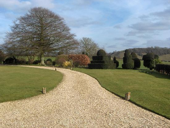 Higher Melcombe Manor: Looking down the driveway from the house