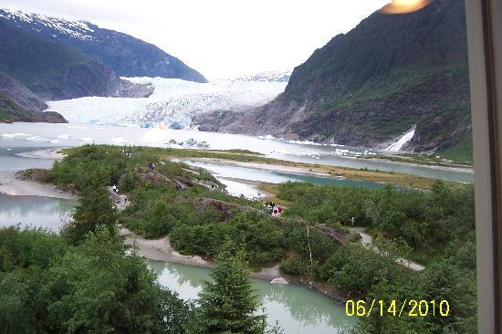Juneau, AK: Glacier, waterfall and grounds from Visitors Center