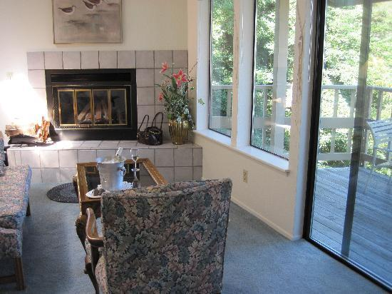 Whale Watch Inn by the Sea: Sitting area facing ocean & fireplace