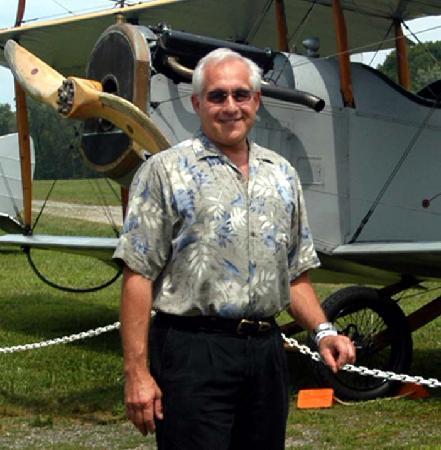 Old Rhinebeck Aerodrome: Steve with classic Bi-Plane