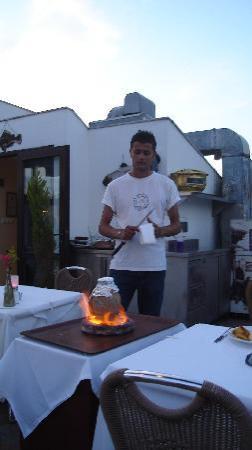 Cozy Bar and Pub : Mr. Mehmet preparing local specialties