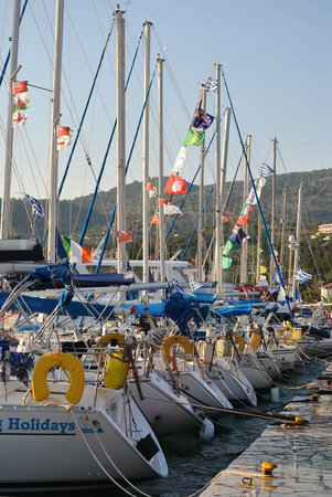 Mourtemeno Hotel: yachts at anchor on the quay