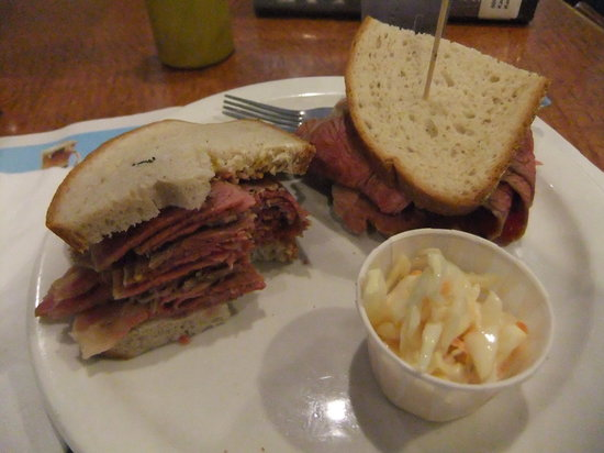 Olympic Diner : my thick delicious hot  corned beef sandwich on rye