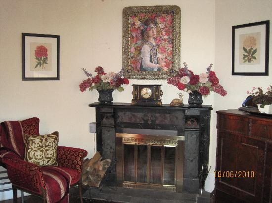 Phoenicia Belle: The fireplace in common lounge