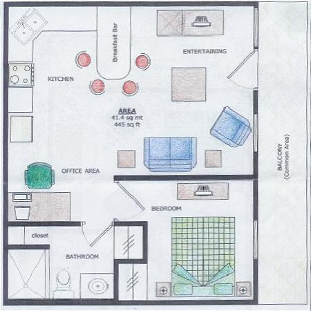 Bocas Condos: Floor plan of one bedroom unit
