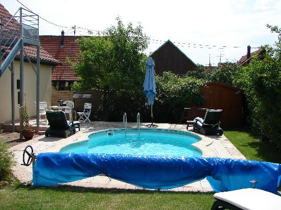 Les Gites du Relais des Vignes : The pool with the gites on the left