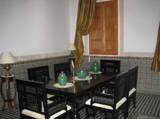 Riad Layali Fes: one of the suite dining area