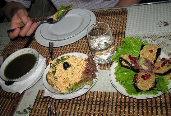 U Dali : Some appetizers - sauce, chicken salad, eggplant