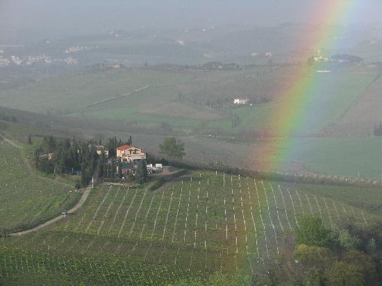 Casa Lari Relais: La Toscane à nos pieds, depuis le balcon arrière.