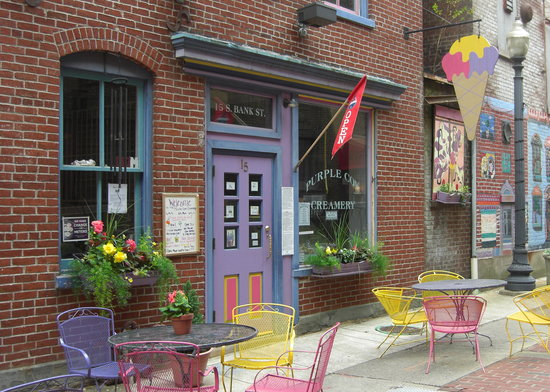 Bank Street Creamery: The entrance to the Purple Cow Creamery.