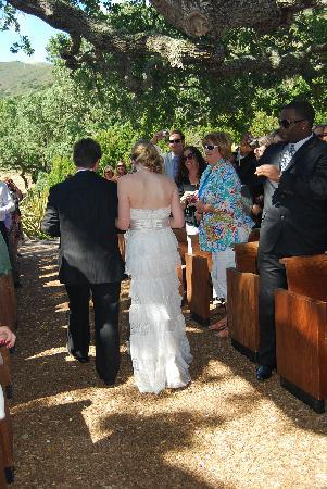 Los Laureles Lodge: The New Mr. and Mrs. leaving the old oak tree
