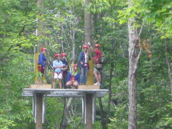 Berkshire East Canopy Tours: Waiting to zip