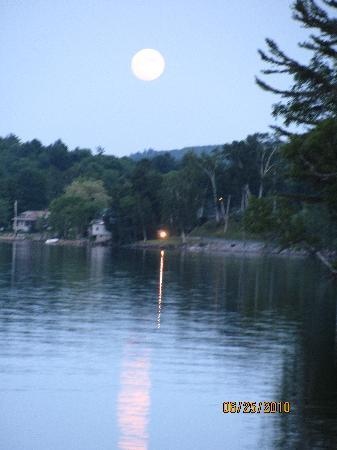 Wilton, ME: Full Moon Over Lake Wilson From the dock at the Wilson Lake Inn