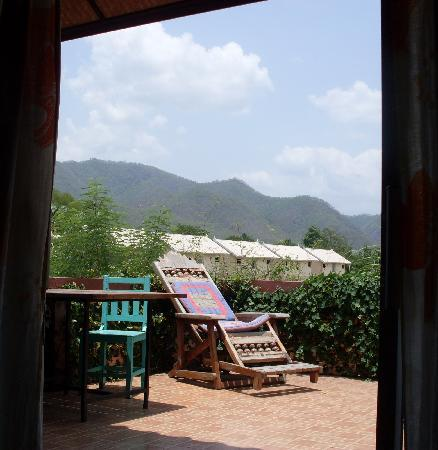 Happy House Pai: view from the bed through the patio doors