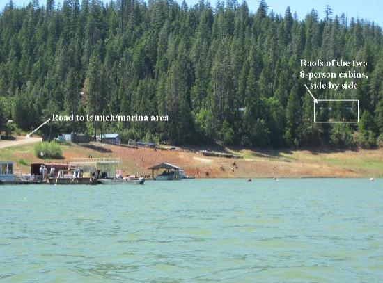 Trinity Lake Resorts & Marinas: View of our cabin from the lake