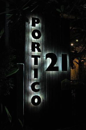 Portico 21: sign at night