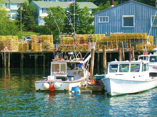 Lobster traps and docked boats in Boothbay Harbor June 2010