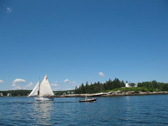 Boothbay Harbor scene sailing past lighthouse June 2010