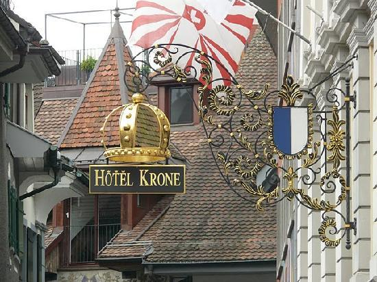 Hotel Krone Luzern: The name board to our hotel