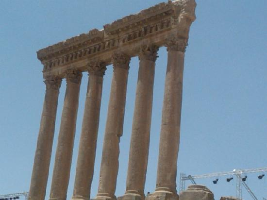 Temples of Baalbek: one of the remaining pillars ,lovely detail