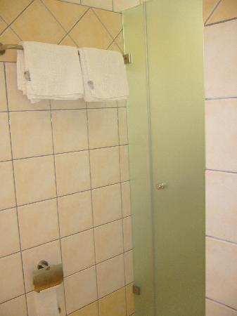 La salle de bains avec porte vitrée isolant la douche ...