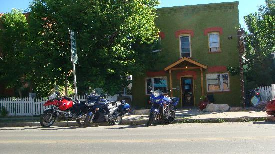 Our bikes out front of The Simple Lodge and Hostel