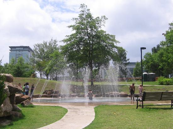 Riverfront Park: Fountain and playground area of riverwalk.