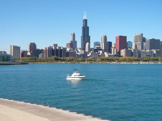 Chicago, IL: Skyline vom Planetarium aus