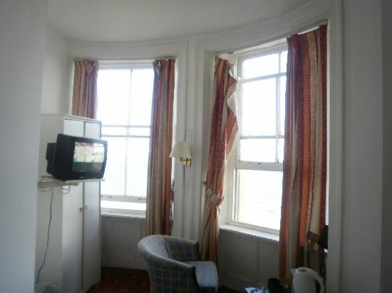 The Brighton Beach Hotel: curtains open and TV position