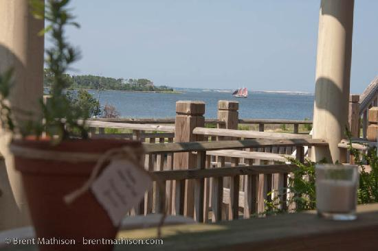 The Burrus House Inn: View of the Bay (Jockeys Ridge in background) from the front deck