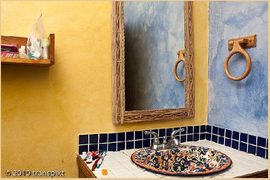 Casa del Sol: The much-vaunted talavera sink in an otherwise spare but perfectly acceptable bathroom [9087]