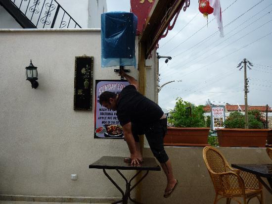 Mandarin Garden: Hasan waterproofing his speakers!