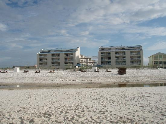 Sugar Beach: view of condo from beach