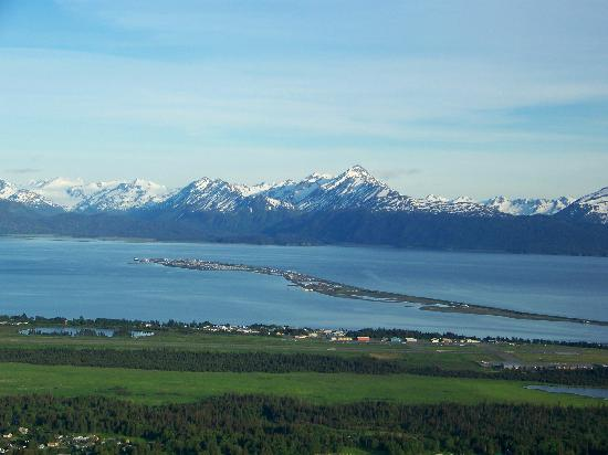 Halcyon Heights B&B / Inn: View of Homer Spit and the mountains from near Halcyon Heights