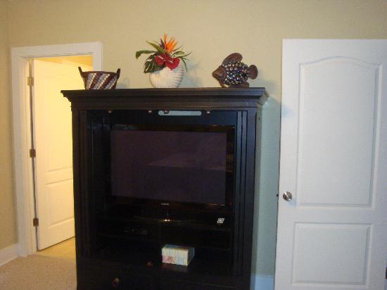 Purple Parrot Village Resort: The bedroom flat screen tv