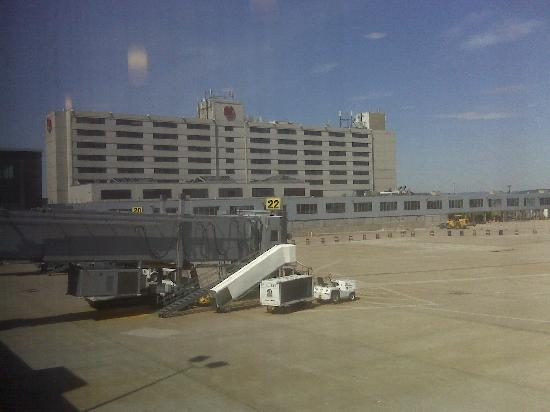 Sheraton Hartford Hotel at Bradley Airport: view of hotel from gate ?? 24 (taken by cellphone)