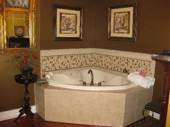 Chestnut Hill Bed & Breakfast Inn: Two person Jacuzzi tub. Another fireplace in the bath as well.