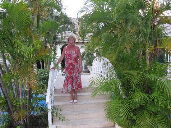 Holetown, Barbados: Me on the bridge over the pool