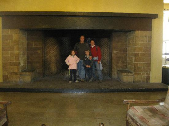 North Pines Campground: Fireplace at the hotel