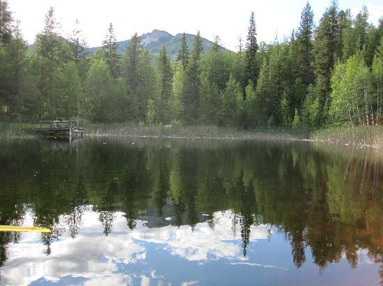 Goldenwood Lodge: View of the pond and mountains