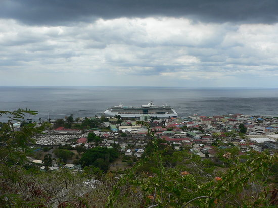 Dominica Botanic Gardens: blick auf roseau