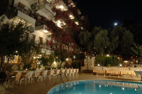 Oreo Hotel, Kas, Turkey pool at night
