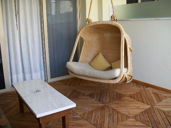 Iberostar Grand Hotel Rose Hall: The swing on our balcony, a perfect companion to my Amazon Kindle!