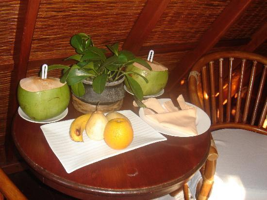 The Farm at San Benito: The farm: our coconut drinks and fruits in our room