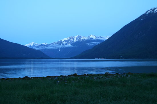 Night falls at Tallheo Cannery Inn. The view from the inn to Bella Coola
