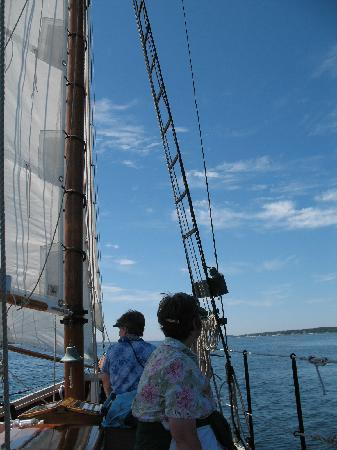 Boothbay Harbor, ME: enjoying our Schooner Lazy Jack sail on June 21 2010